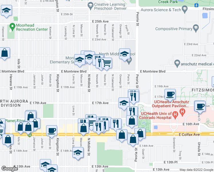 map of restaurants, bars, coffee shops, grocery stores, and more near 1900 Nome Street in Aurora