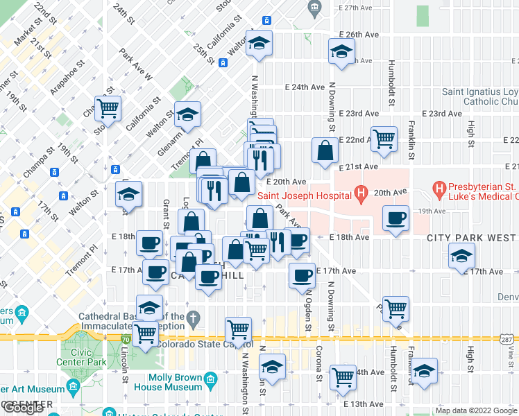 map of restaurants, bars, coffee shops, grocery stores, and more near 755 East 19th Avenue in Denver