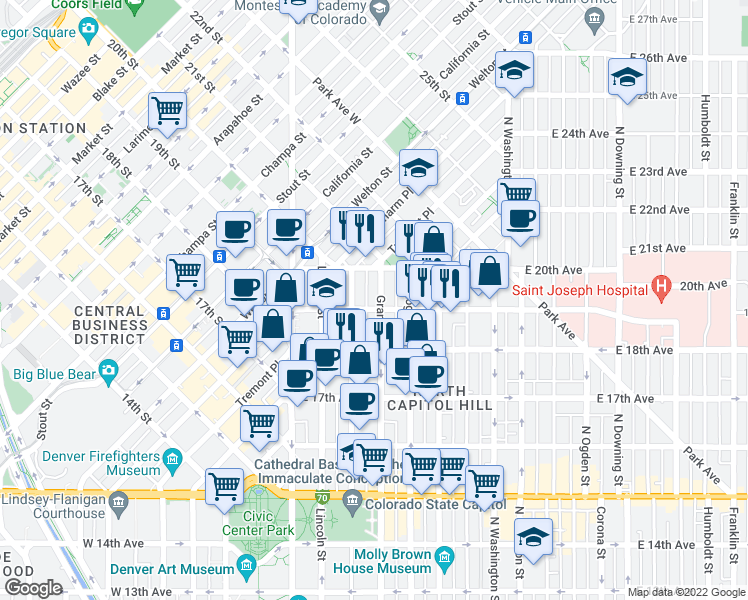 map of restaurants, bars, coffee shops, grocery stores, and more near 1901 Grant Street in Denver