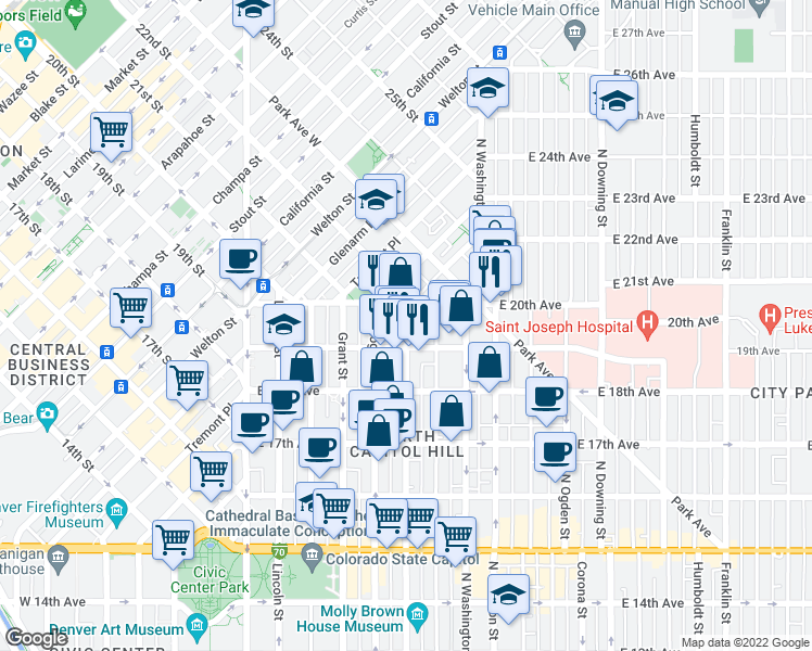 map of restaurants, bars, coffee shops, grocery stores, and more near 501 East 19th Avenue in Denver