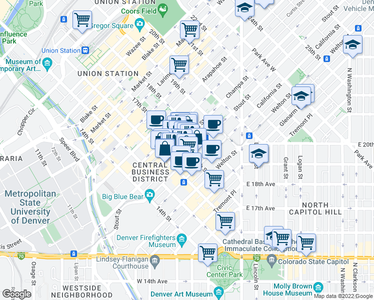 map of restaurants, bars, coffee shops, grocery stores, and more near 817 17th Street in Denver