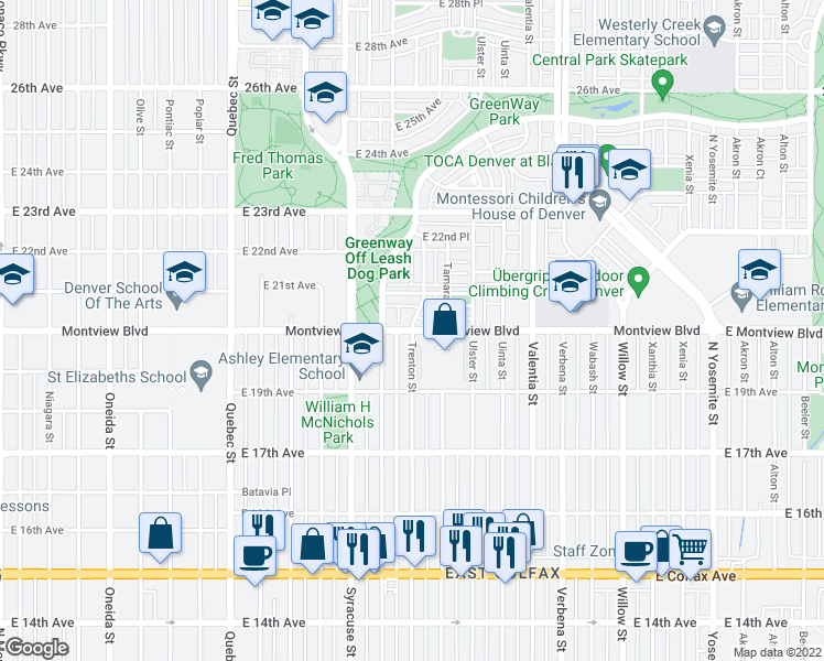 map of restaurants, bars, coffee shops, grocery stores, and more near Montview Boulevard & Trenton Street in Denver