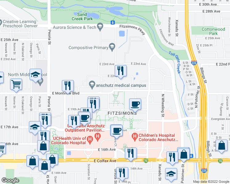 map of restaurants, bars, coffee shops, grocery stores, and more near in Aurora
