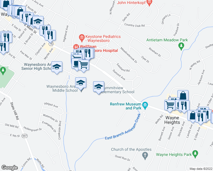 map of restaurants, bars, coffee shops, grocery stores, and more near 818-836 East 2nd Street in Waynesboro