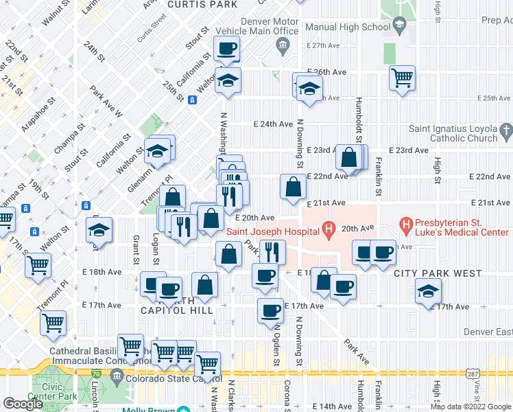 map of restaurants, bars, coffee shops, grocery stores, and more near 2027 Emerson Street in Denver