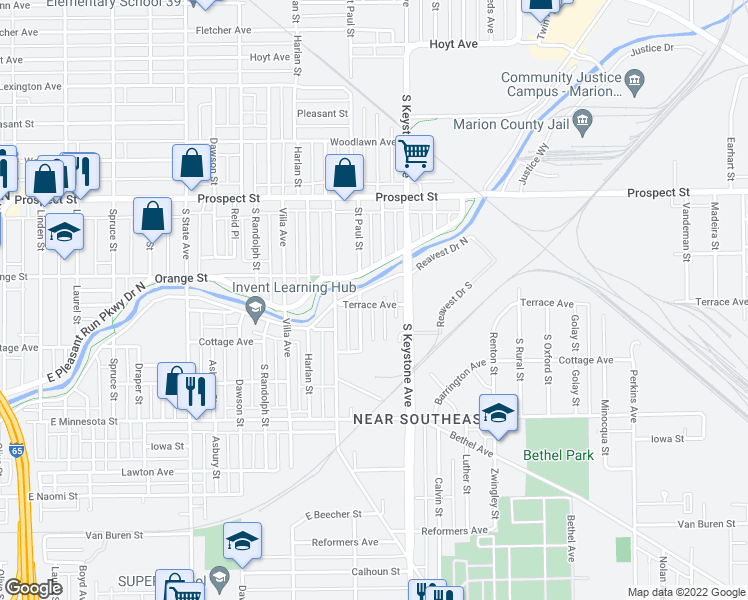 map of restaurants, bars, coffee shops, grocery stores, and more near 2312 Terrace Avenue in Indianapolis