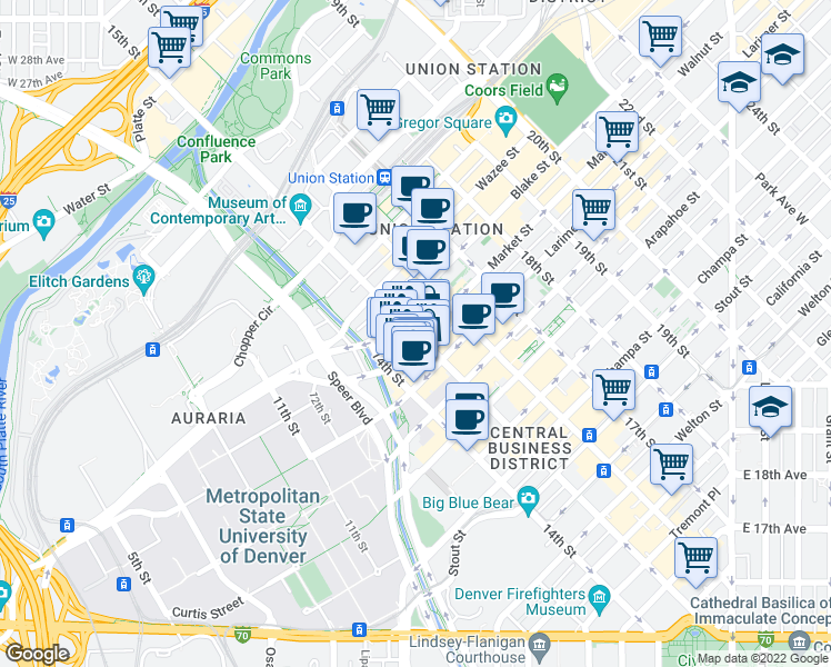 map of restaurants, bars, coffee shops, grocery stores, and more near 15th Street in Denver