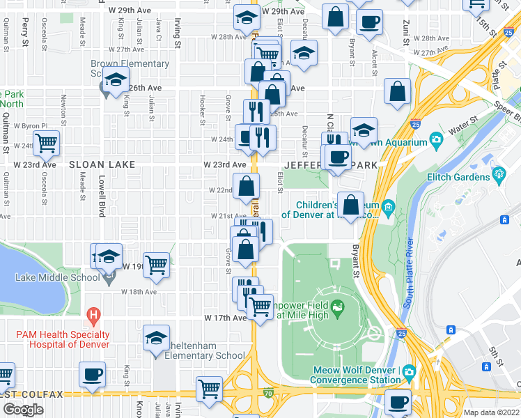 map of restaurants, bars, coffee shops, grocery stores, and more near 2112 Federal Boulevard in Denver