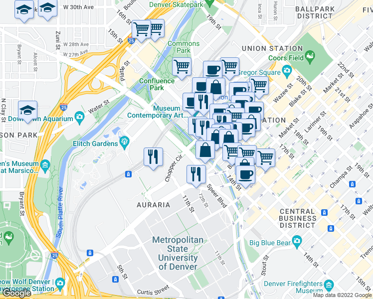 map of restaurants, bars, coffee shops, grocery stores, and more near 13th Street in Denver