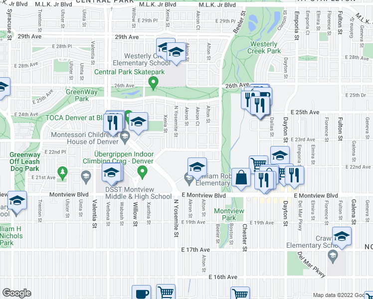 map of restaurants, bars, coffee shops, grocery stores, and more near Akron Street in Denver