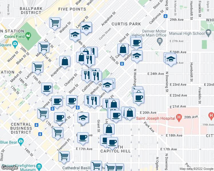 map of restaurants, bars, coffee shops, grocery stores, and more near 550 Park Avenue West in Denver