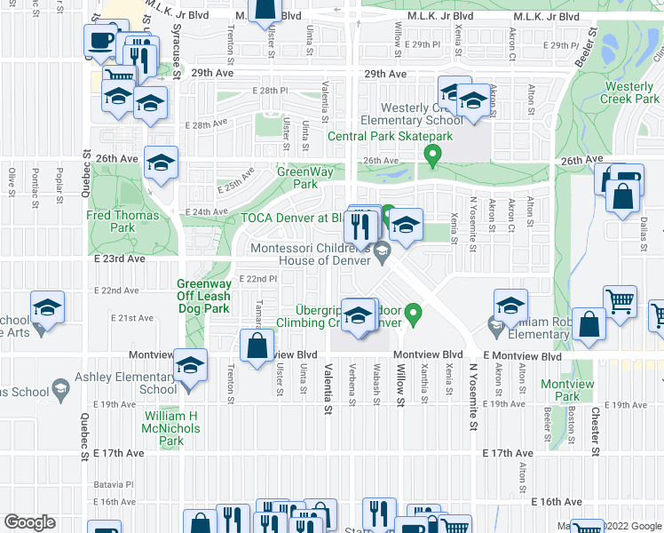 map of restaurants, bars, coffee shops, grocery stores, and more near 2292 Valentia Street in Denver