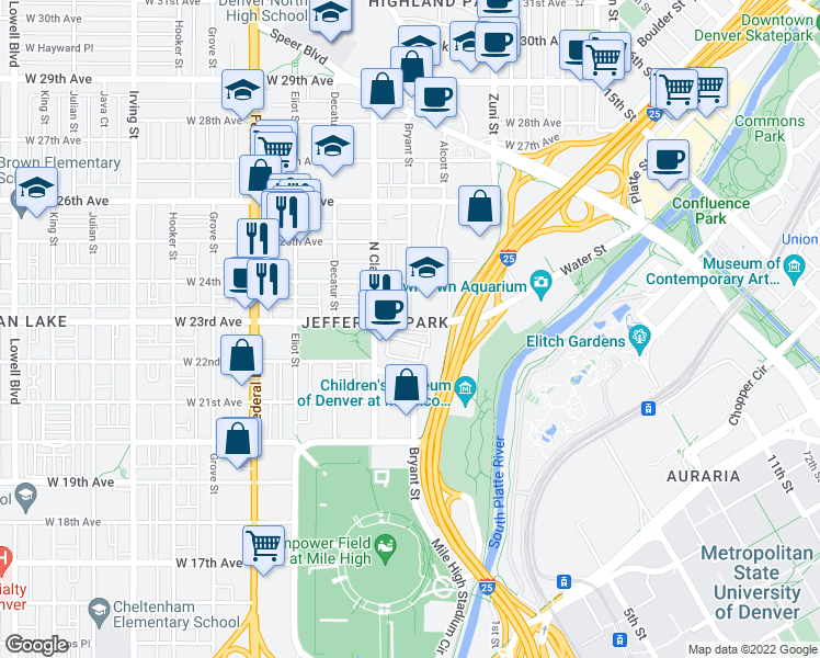 map of restaurants, bars, coffee shops, grocery stores, and more near 2552 West 23rd Avenue in Denver