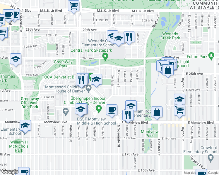 map of restaurants, bars, coffee shops, grocery stores, and more near 8772 E 24th Ave in Denver