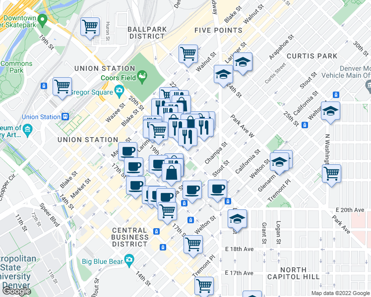 map of restaurants, bars, coffee shops, grocery stores, and more near 2000 Arapahoe Street in Denver