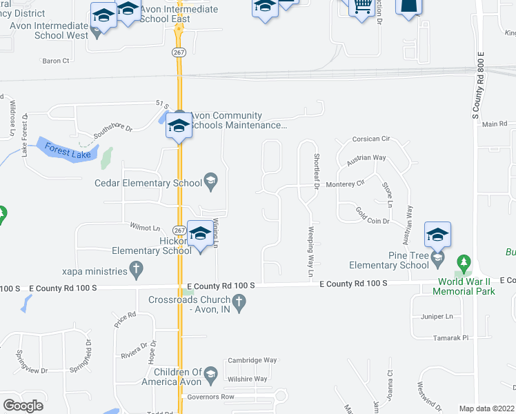map of restaurants, bars, coffee shops, grocery stores, and more near 7255 Woodmill Court in Avon