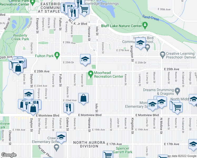 map of restaurants, bars, coffee shops, grocery stores, and more near 2340 Iola Street in Aurora