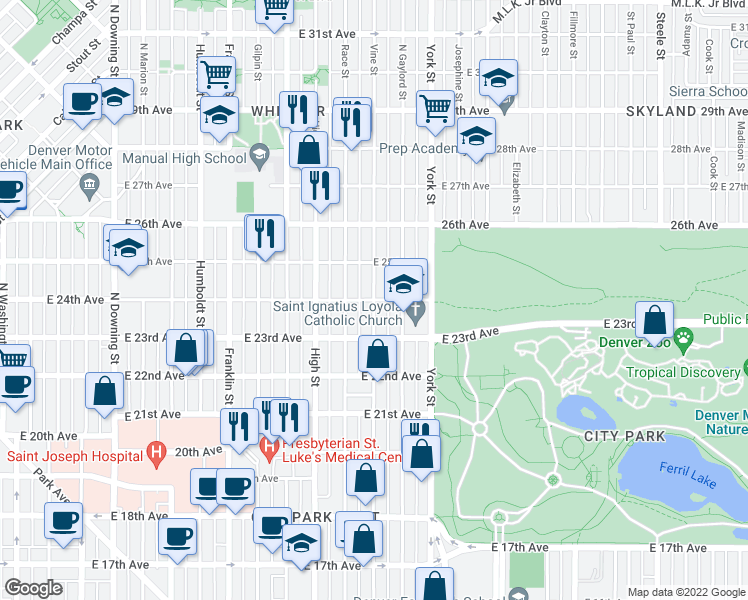 map of restaurants, bars, coffee shops, grocery stores, and more near Vine Street in Denver