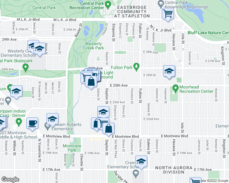 map of restaurants, bars, coffee shops, grocery stores, and more near 2365 Emporia Street in Aurora
