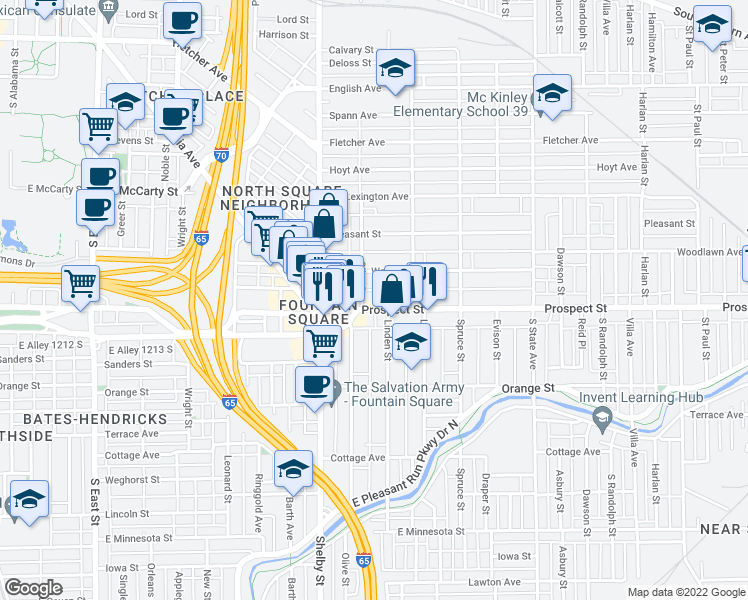 map of restaurants, bars, coffee shops, grocery stores, and more near 1224 Prospect Street in Indianapolis