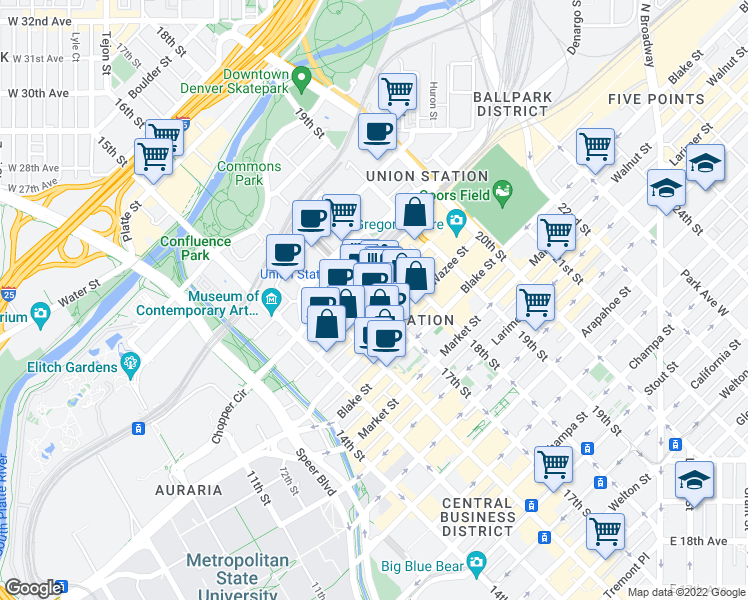 map of restaurants, bars, coffee shops, grocery stores, and more near 17th Street & Wynkoop Street in Denver