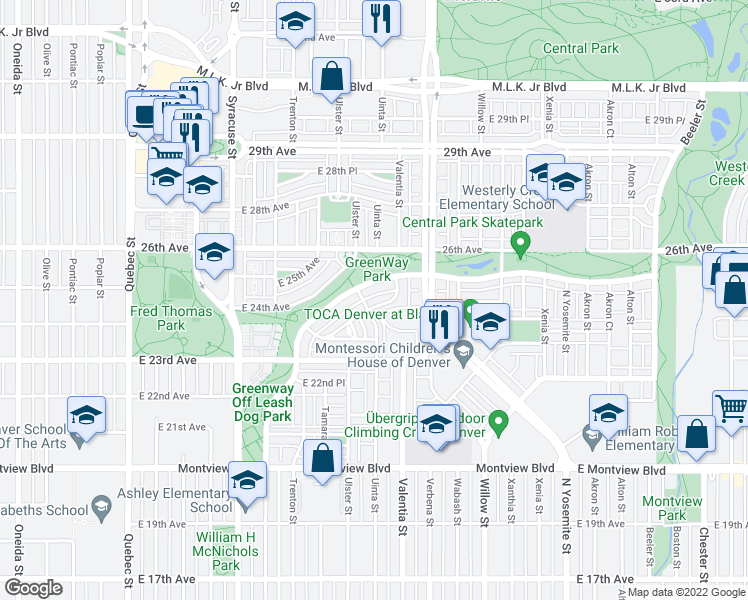 map of restaurants, bars, coffee shops, grocery stores, and more near 8223 East 24th Drive in Denver