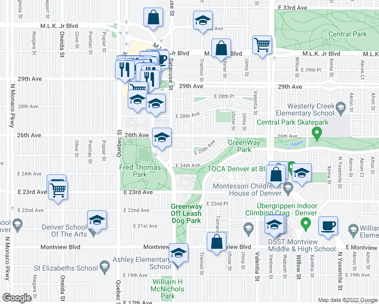 map of restaurants, bars, coffee shops, grocery stores, and more near 2491 Spruce St in Denver