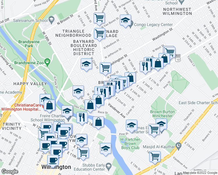 map of restaurants, bars, coffee shops, grocery stores, and more near 2203 North Market Street in Wilmington