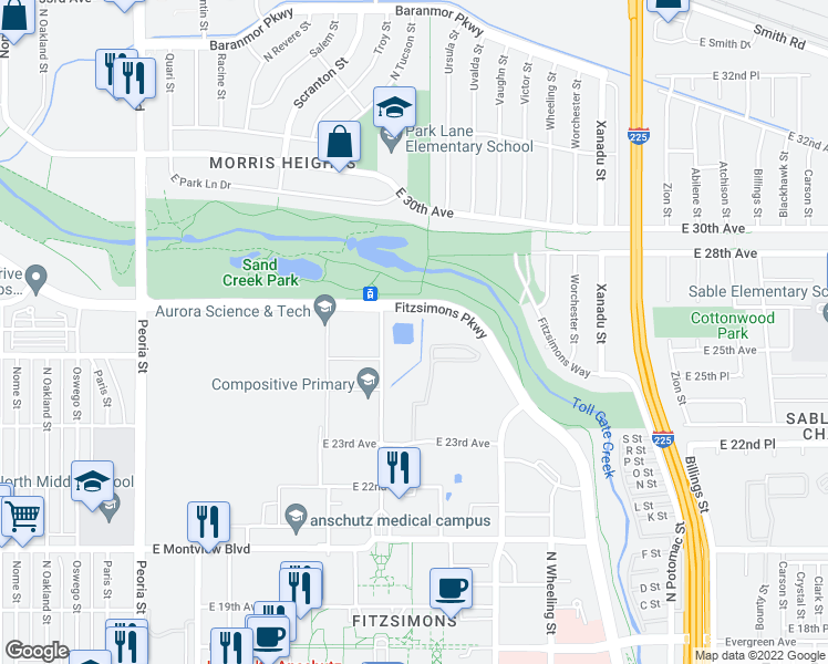 map of restaurants, bars, coffee shops, grocery stores, and more near Fitzsimons Parkway in Aurora