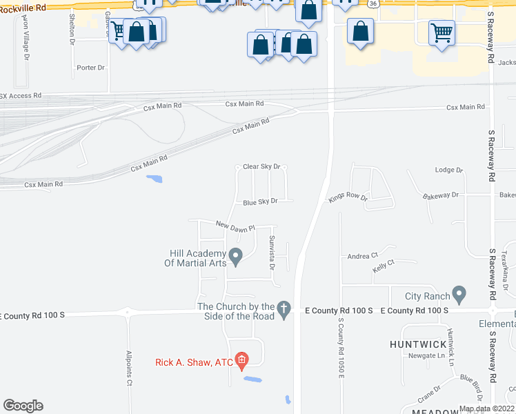 map of restaurants, bars, coffee shops, grocery stores, and more near 10221 Blue Sky Drive in Avon