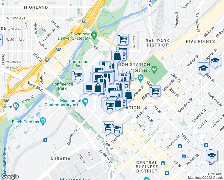 map of restaurants, bars, coffee shops, grocery stores, and more near 1750 Wewatta Street in Denver