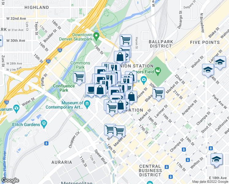 map of restaurants, bars, coffee shops, grocery stores, and more near 1411 Court Place in Denver