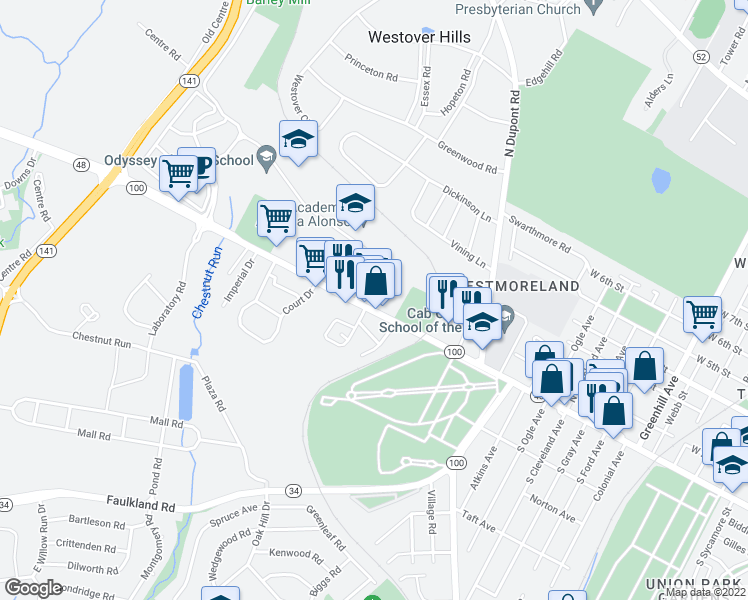 map of restaurants, bars, coffee shops, grocery stores, and more near 3403 Lancaster Pike in Wilmington