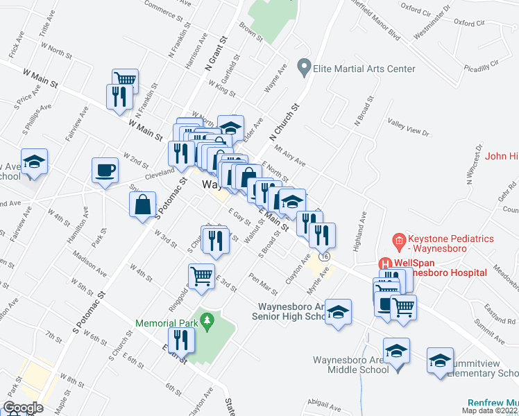map of restaurants, bars, coffee shops, grocery stores, and more near 101 East Main Street in Waynesboro