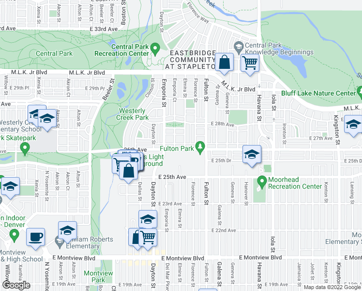 map of restaurants, bars, coffee shops, grocery stores, and more near 9861 East 26th Avenue in Denver