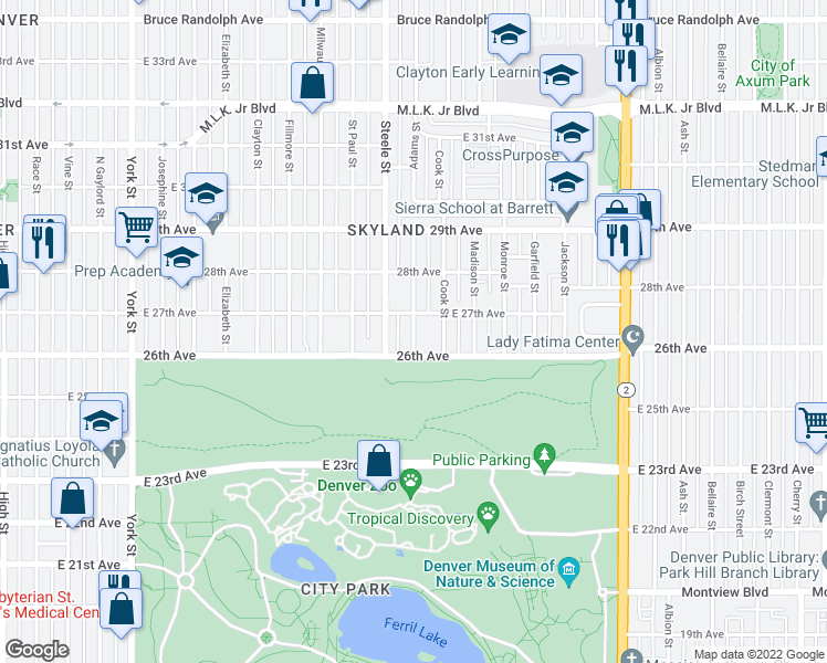 map of restaurants, bars, coffee shops, grocery stores, and more near Adams Street in Denver