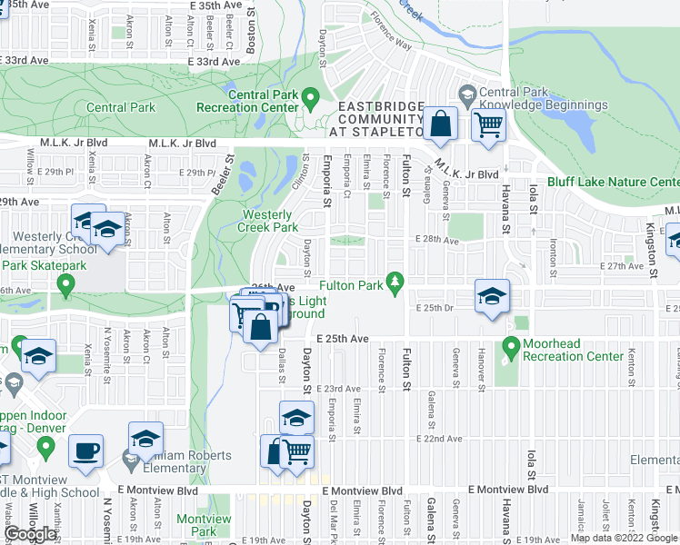 map of restaurants, bars, coffee shops, grocery stores, and more near 2636 Emporia Street in Denver