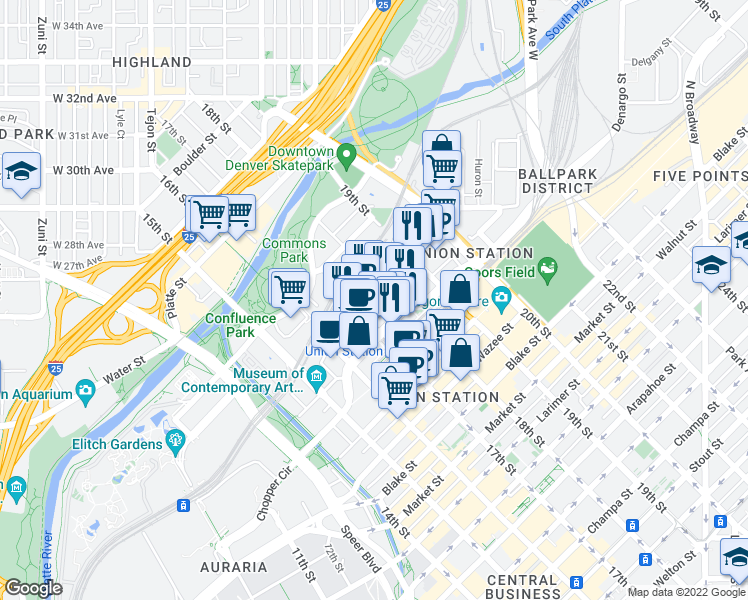 map of restaurants, bars, coffee shops, grocery stores, and more near 1777 Chestnut Place in Denver
