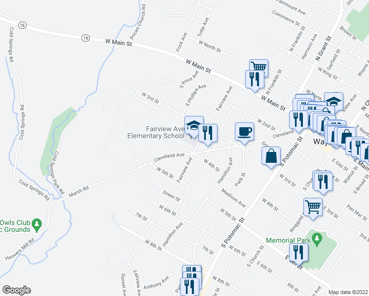 map of restaurants, bars, coffee shops, grocery stores, and more near 471 West 4th Street in Waynesboro