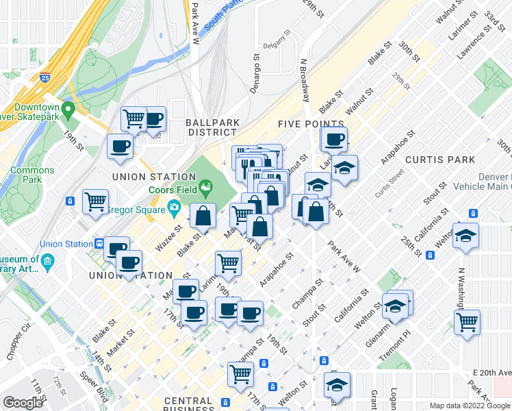 map of restaurants, bars, coffee shops, grocery stores, and more near 2215 Market Street in Denver