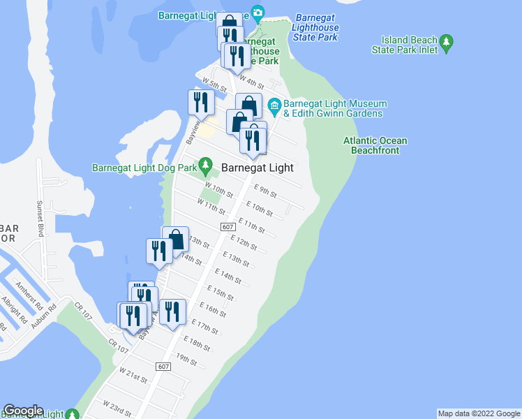 map of restaurants, bars, coffee shops, grocery stores, and more near 16 East 10th Street in Barnegat Light