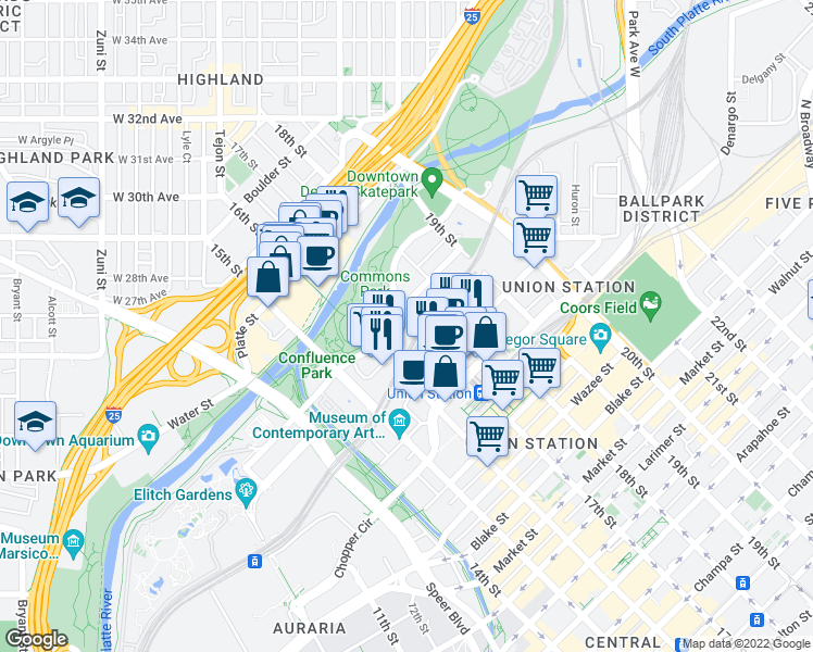 map of restaurants, bars, coffee shops, grocery stores, and more near 1690 Bassett Street in Denver