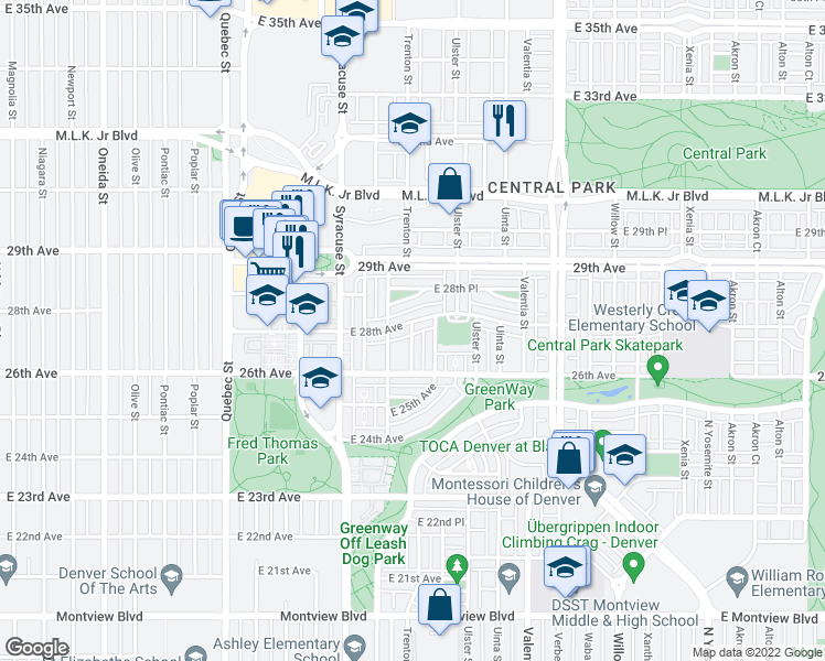 map of restaurants, bars, coffee shops, grocery stores, and more near 5478 Trenton Street in Denver