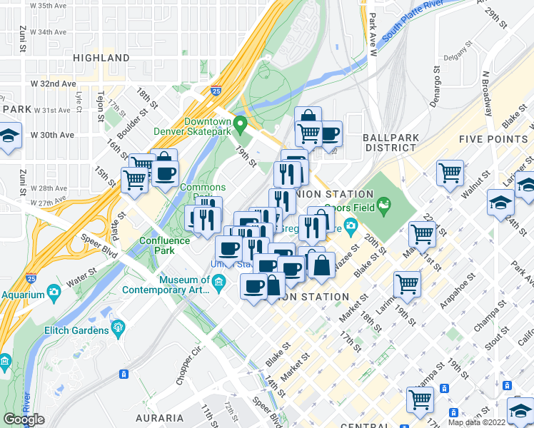 map of restaurants, bars, coffee shops, grocery stores, and more near 1801 Chestnut Place in Denver