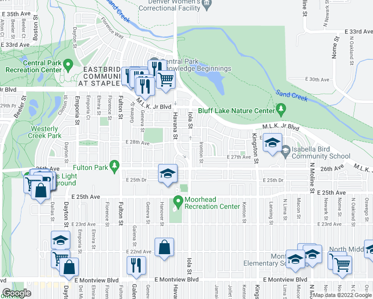 map of restaurants, bars, coffee shops, grocery stores, and more near 2725 Iola Street in Denver