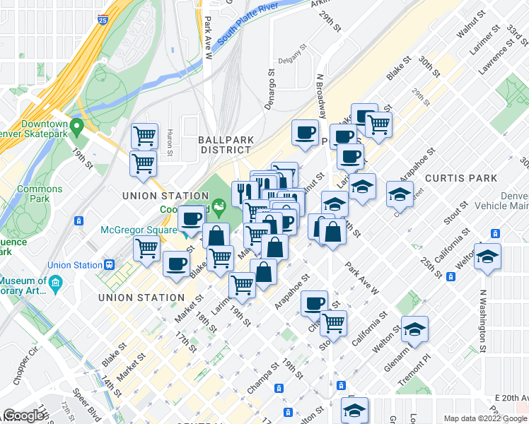 map of restaurants, bars, coffee shops, grocery stores, and more near 2210 Blake Street in Denver