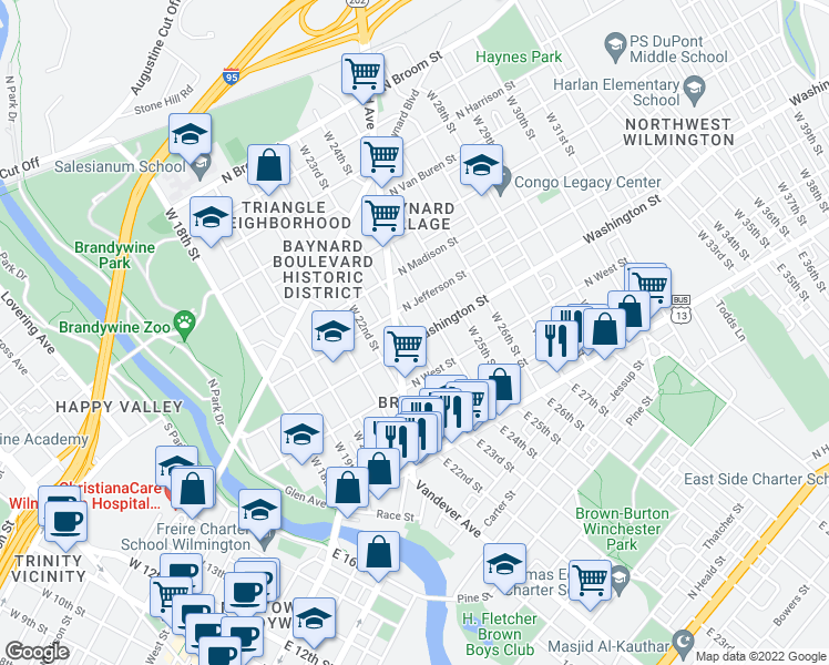 map of restaurants, bars, coffee shops, grocery stores, and more near 2301 North Washington Street in Wilmington