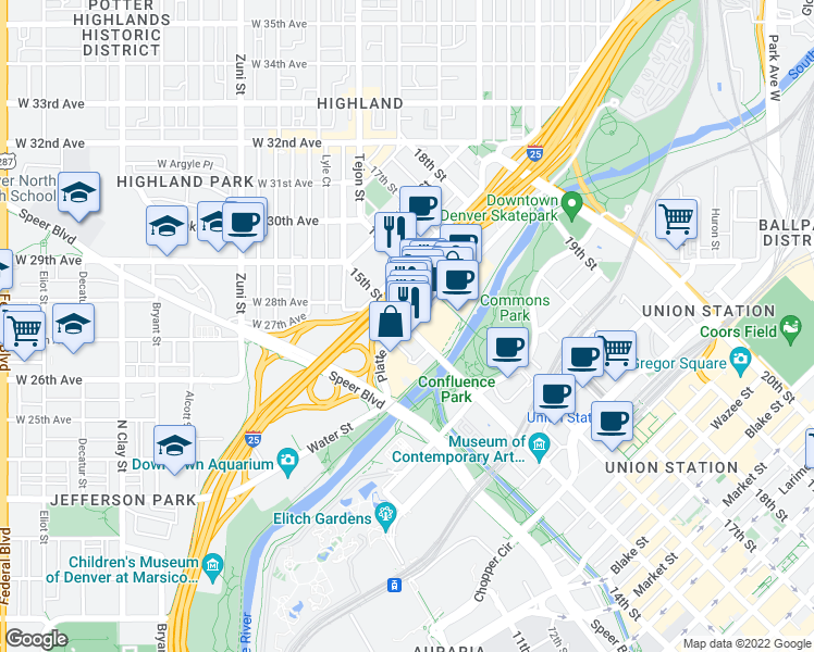 map of restaurants, bars, coffee shops, grocery stores, and more near 15th St & Platte St in Denver