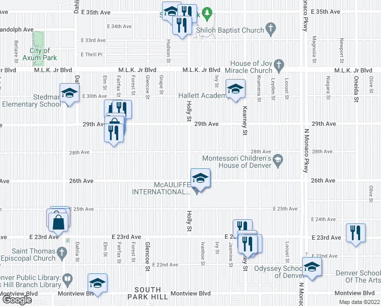 map of restaurants, bars, coffee shops, grocery stores, and more near 2660 Holly Street in Denver