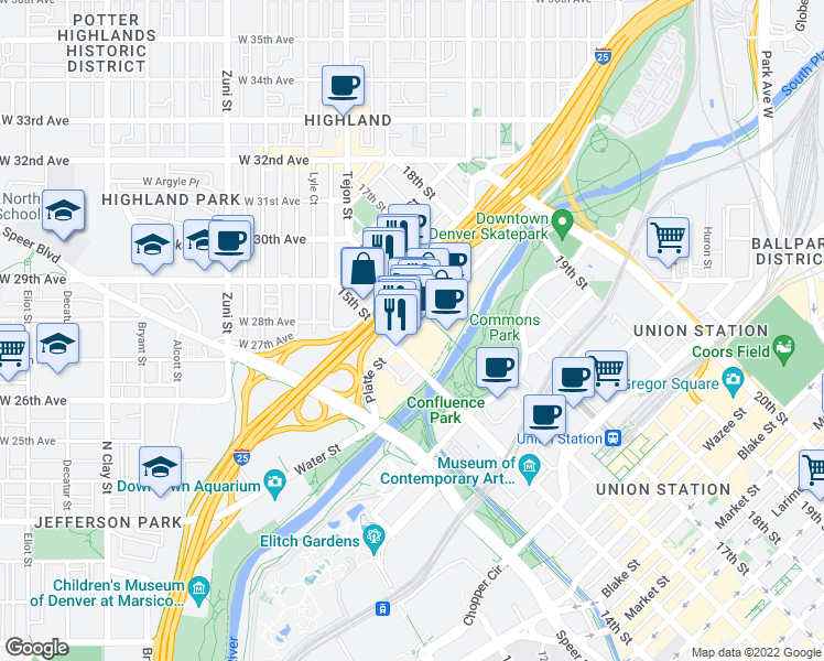 map of restaurants, bars, coffee shops, grocery stores, and more near Grand Army of the Republic Highway in Denver
